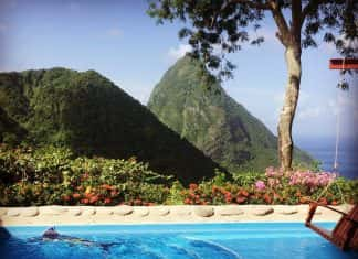 View of the Piton from Ladera in Saint Lucia