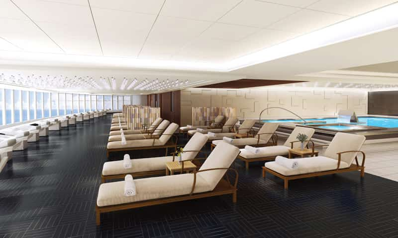 Norwegian Bliss'Mandara Spais located on deck 16 aft and features a thermal suite.