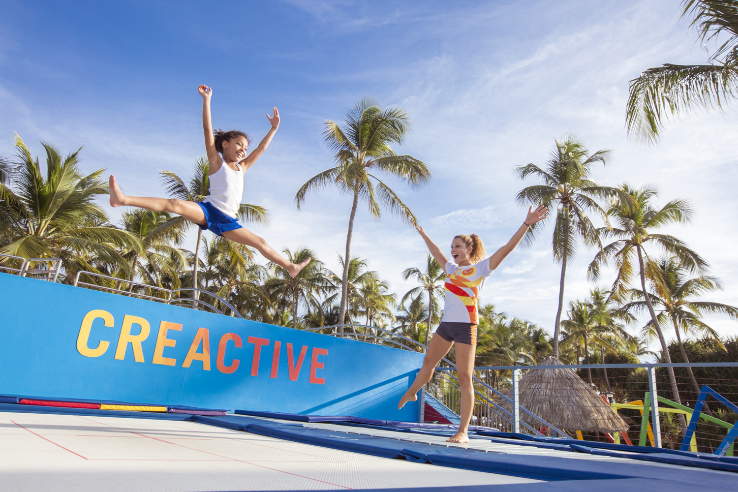 Club Med offers Creactive facilities where kids can use a trampoline, juggle or do a trapeze act.