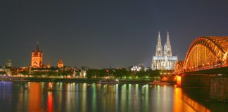View across the Rhine to its western bank with Cologne Cathedral, Hohenzollern Bridge and Great St. Martin's Church. (German National Tourist Board)