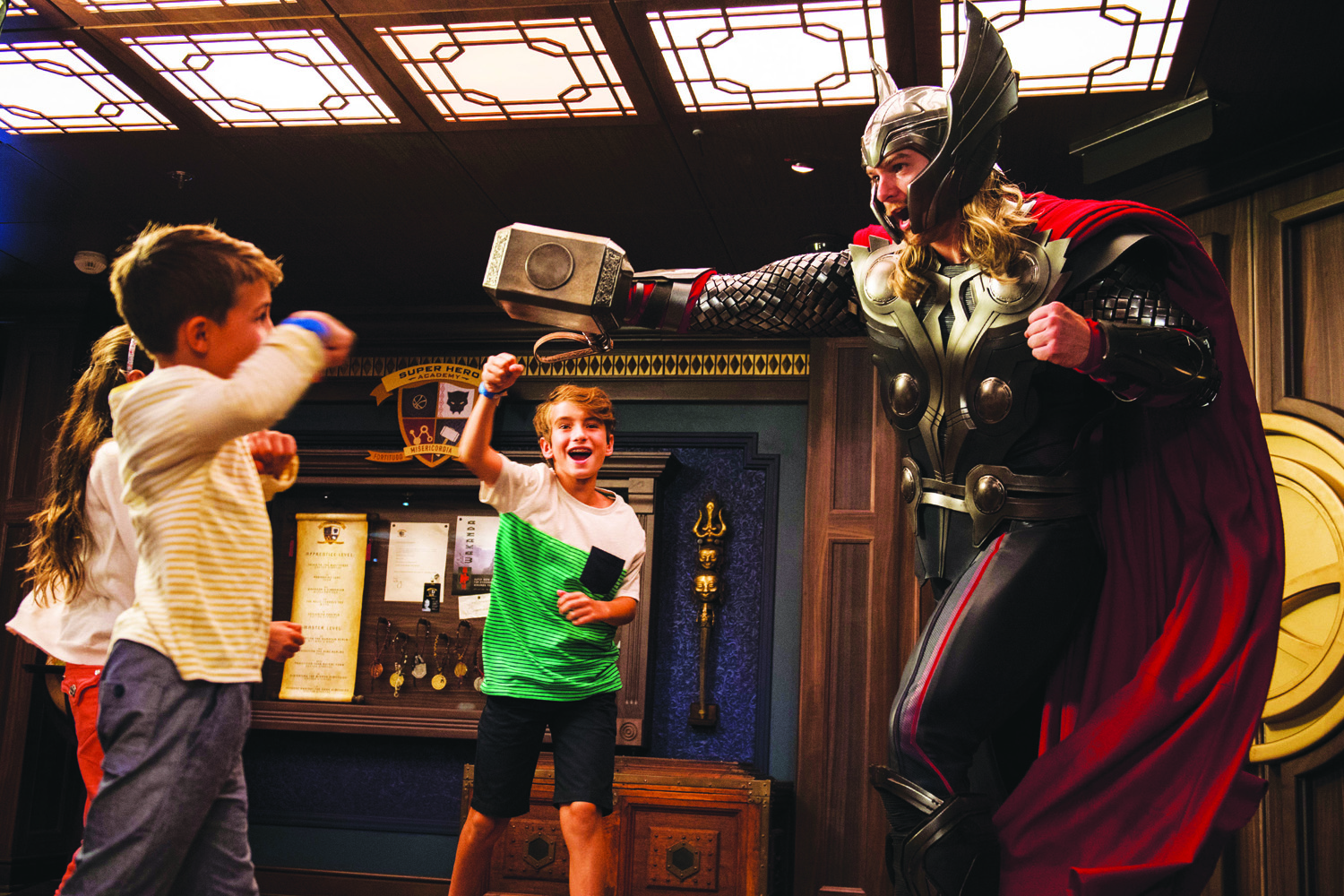 In Disney's Oceaneer Club aboard the Disney Fantasy, young guests come face-to-face with the mighty Thor to discover what it takes to become a true hero. Children build and decorate their own hammers, similar to Thor's own Mjolnir and learn how to use them to battle evil forces.
