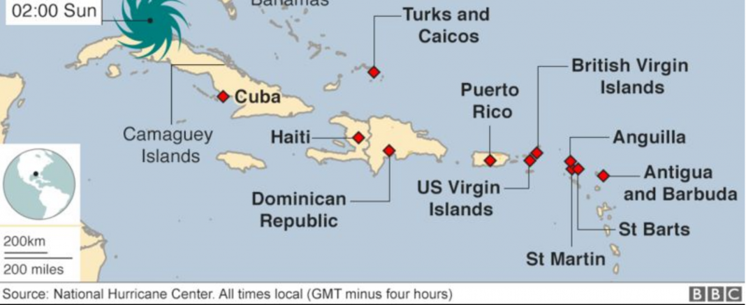 This National Hurricane Center map highlights the Caribbean islands impacted by the historic Hurricane Irma.