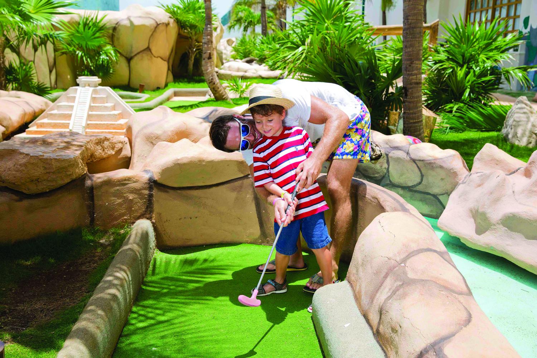 Mini golf at the brand-new Seadust Cancun Family Resort.