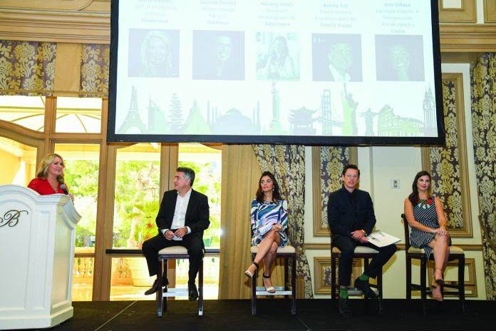 """From left to right: Terrie Hansen, sr. v.p. of marketing, Virtuoso (who moderated the """"Trends in Travel"""" panel discussion); Bobby Zur; Ana Villaca; Gabriel Donida; and Haisley Smith."""