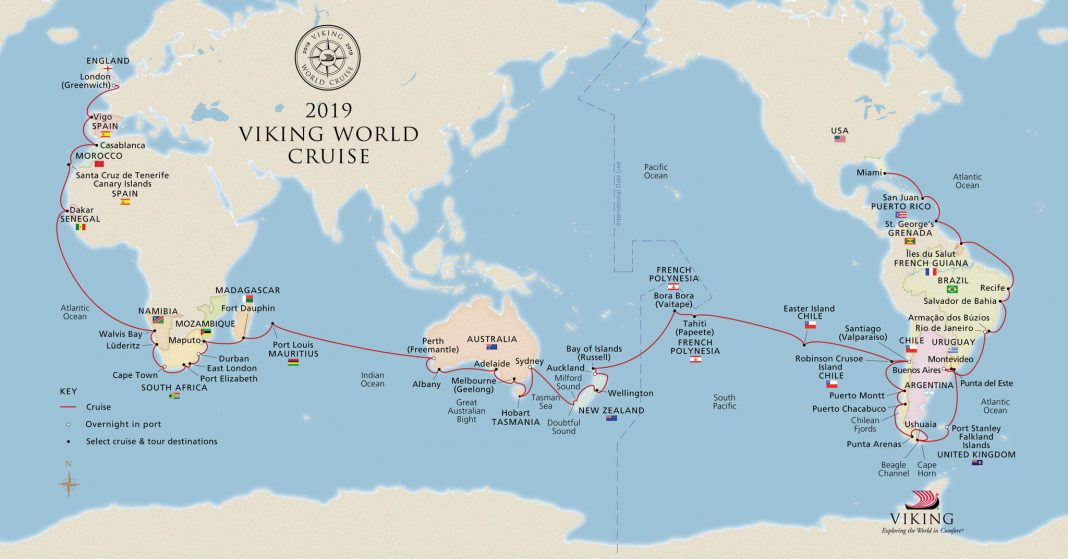 Cruisers on the 2019 Viking World Cruise will enjoy sail for 128 days following the itinerary above.