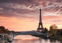 Dawn over Eiffel tower and Seine, Paris, France.