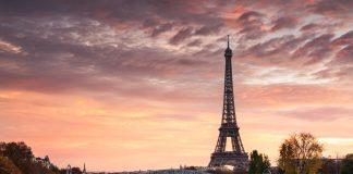Dawn over Eiffel tower and Seine, Paris, France.