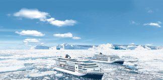 Artist renderings show HANSEATIC inspiration sailing alongside its sister ship, HANSEATIC nature.