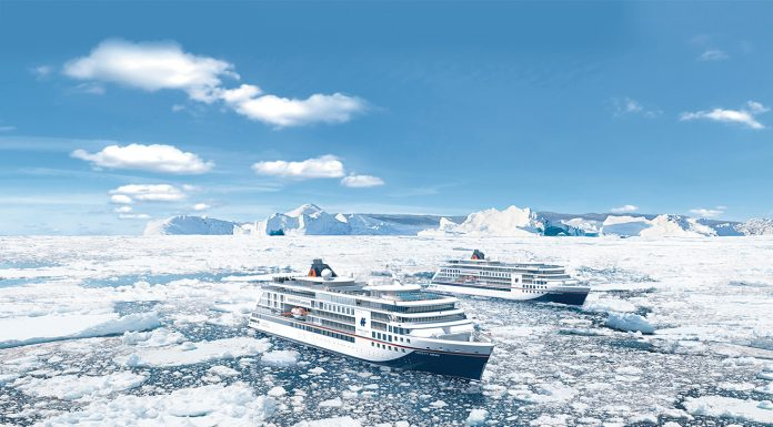 Artist renderings show HANSEATIC inspiration sailing alongside its sister ship, HANSEATIC nature.