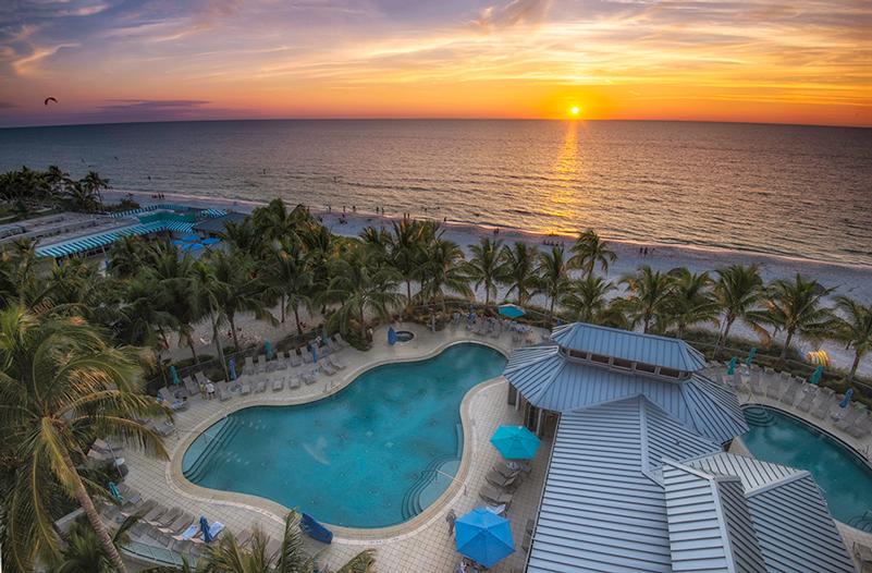 After a full Thanksgiving meal, guests can look forward to beachfront sunset views at The Naples Beach Resort & Golf Club