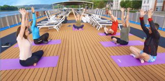 Guests participating in AmaWaterways' Wellness Program activities can enjoy yoga on the sun deck and more.