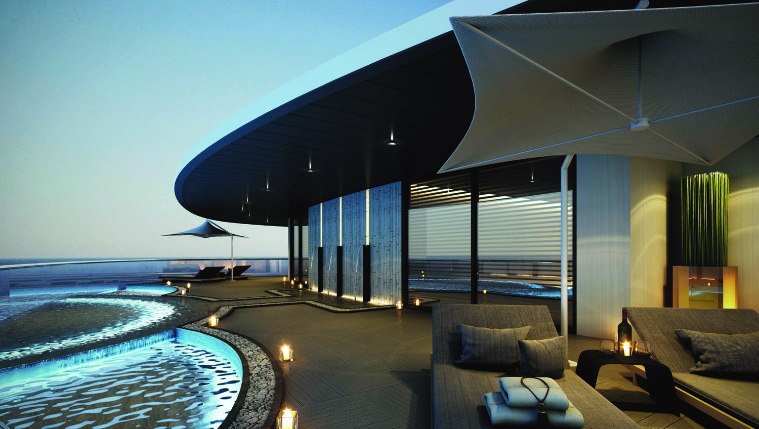 Rendering of the spa plunge pools on board the Scenic Eclipse.