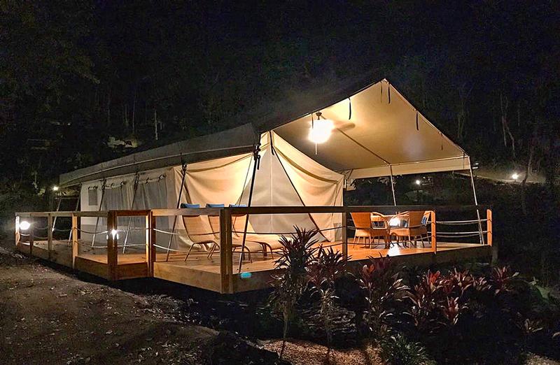 The Isla Chiquita Glamping Resort at night. (Photo credit: Austin Adventures)
