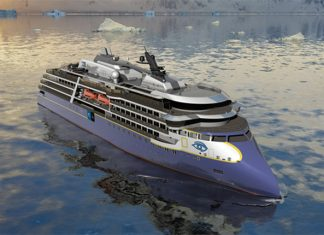 An artist rendering shows the future of the polar vessel to be built for the Linblad Expeditions-National Geographic fleet.