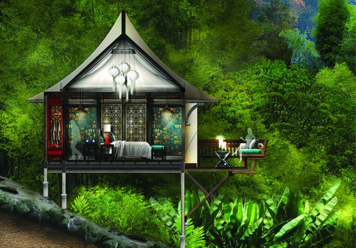 Rendering of tent villa accommodations at Rosewood Luang Prabang in Laos.