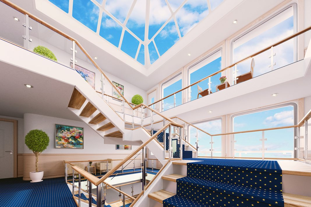 The 4-story glass atrium on aboard American Song will bring the outdoors inside with unobstructed views.