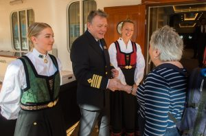 Captain Knutsen welcomes guests aboard the Viking Sun setting sail from Miami on the World Cruise itinerary. (Photo courtesy of Viking Cruises.)
