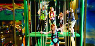 Ropes course at the 110,000-sq.-ft. indoor theme park at the Kalahari Resort in Wisconsin Dells.