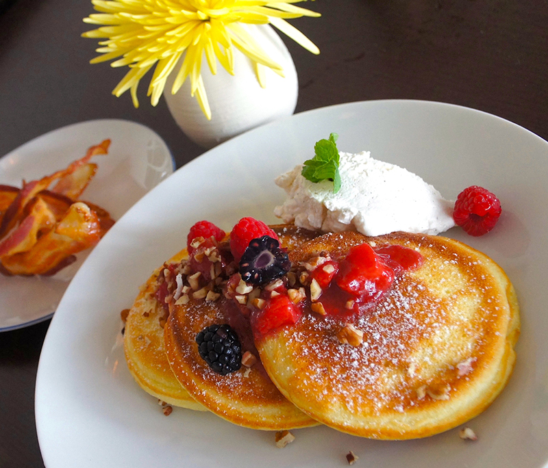 The calories from these buckwheat pancakes topped with berries were well worth it.