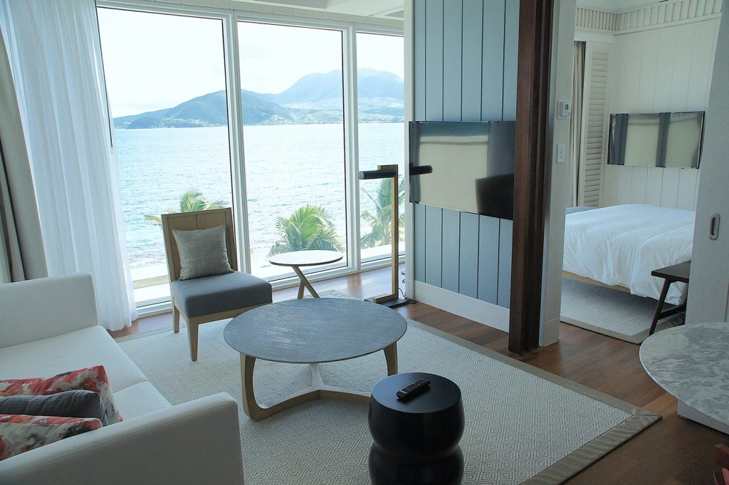 This Nevis Peak Suite at the Park Hyatt St. Kitts offers stunning ocean views.