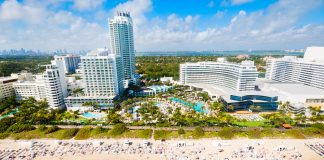 Aerial views of the Fountaine Bleau Miami Beach where couples can enjoy a special Valentine's Day concert and overnight hotel stay.