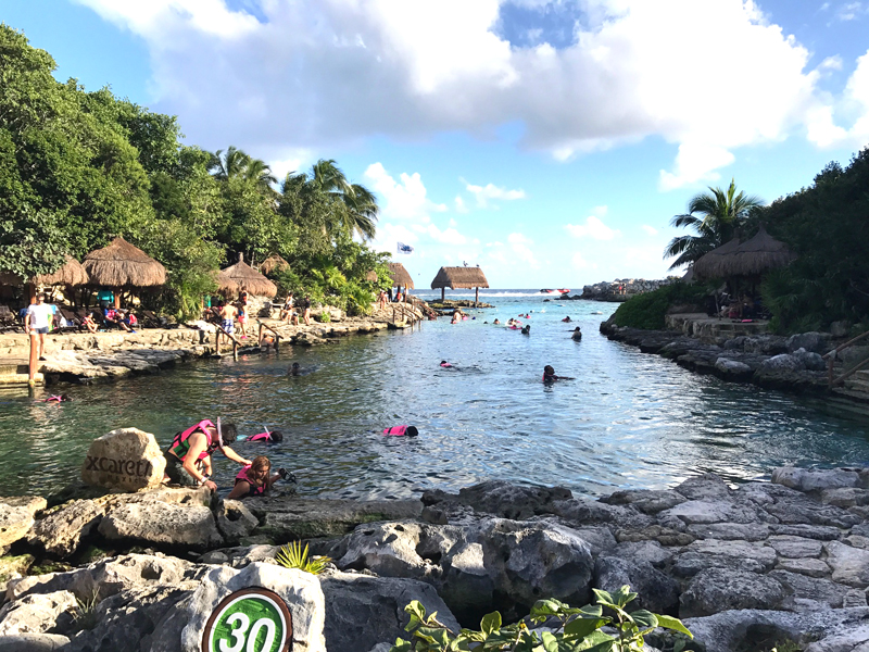 Guests snorkeling before sunset at Xcaret. (Photo credit: Michelle Marie Arean.)
