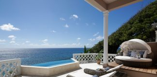 The Terrace Suite patio at the Curtain Bluff offers ocean views.