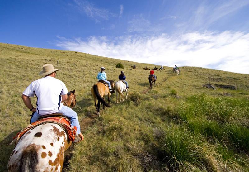 Horseback riding in the Absaroka Mountains. (Photo courtesy of Austin Adventures.)