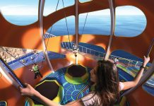 The brand-new Sky Pad, a virtual reality, bungee trampoline attraction, on board RCI's Mariner of the Seas.