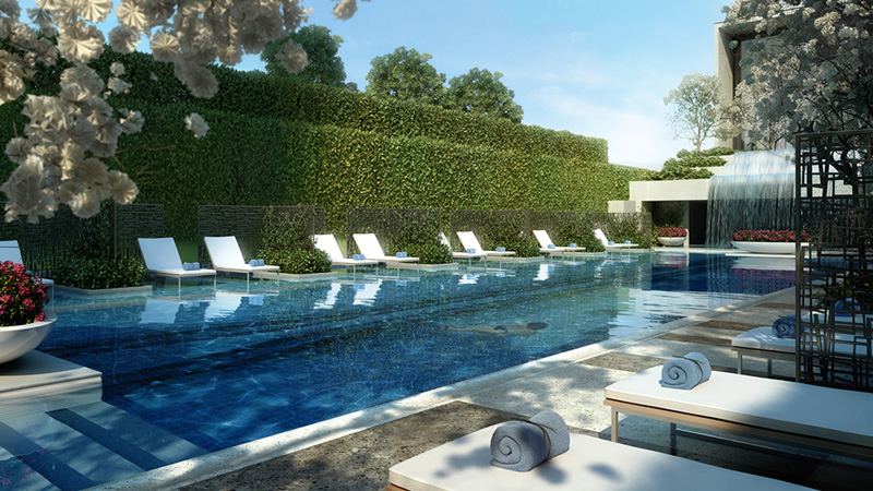 The outdoor area at the Four Seasons Bengaluru will help guests get away from the busyness of the surrounding city.