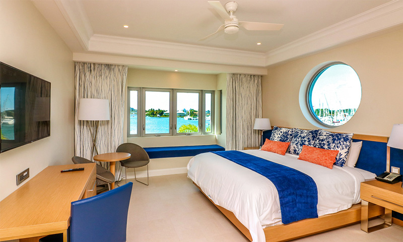 Inside one of the rooms at Saint Lucia's brand new Harbour Club, a Curio Resort.