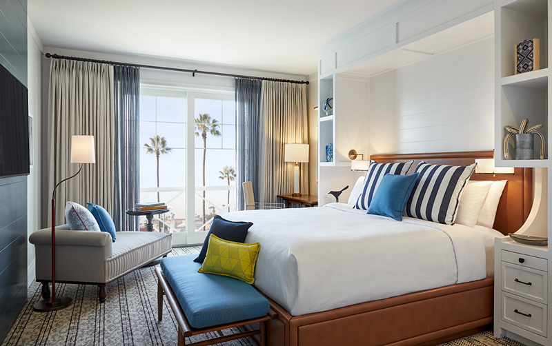 The Lido House aims to bring coastal vibes indoor with its decor and color schemes.