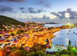 An aerial view shows Marigot, one of several areas to have already reopened in St. Martin.
