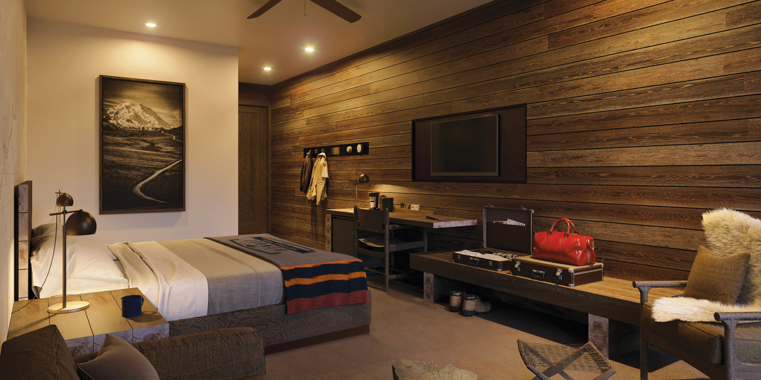 endering of jr. suite accommodations at Holland America's McKinley Chalet Resort .