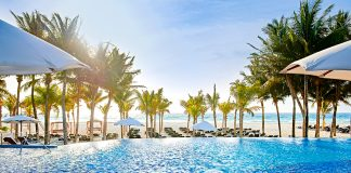 One of the six pools at the adults-only, all-inclusive Royal Hideaway Playacar.