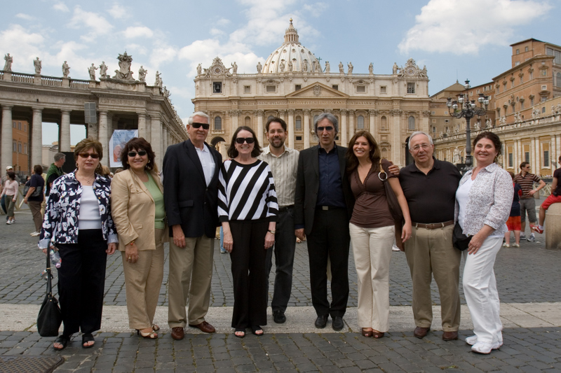 Perillo poses with travel agents at The Vatican.