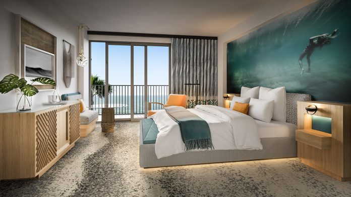 Renderings detail what guestrooms inside the Waikiki Beachcomber will look like after renovations. (Credit: SFA)