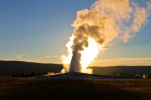 Views of Old Faithful at Yellowstone National Park at sunrise. (Photo courtesy of Austin Adventures.)