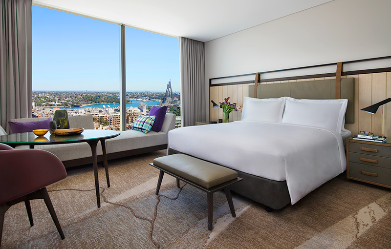 All guestrooms and suites at the Sofitel Sydney Darling Harbour offer views of the city and the harbor.