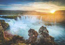 Iceland, Godafoss at sunset, beautiful waterfall, long exposure Tauck