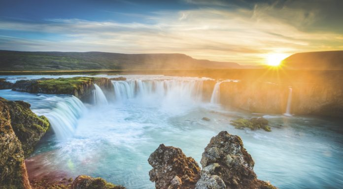 Iceland, Godafoss at sunset, beautiful waterfall, long exposure Tauck