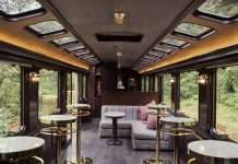 Inside the lounge on a First-Class Macchu PIcchu Train by Inca Rail.