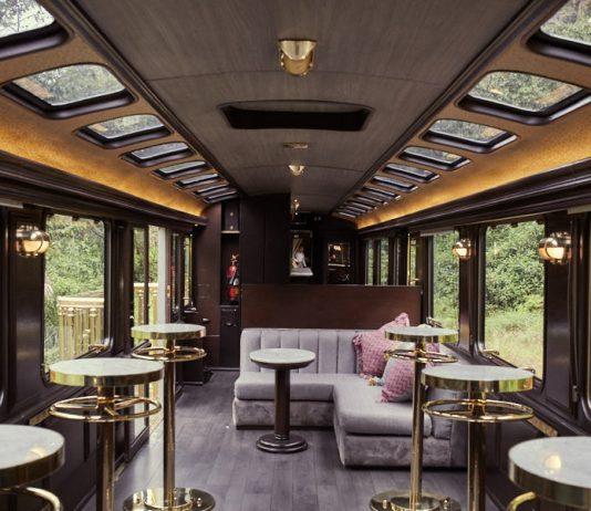 Inside the lounge on a First-Class Macchu PIcchu Train by Inca Rail.