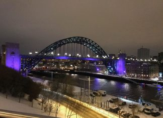 Evening views of the bridges over the River Tyne, which connect Newcastle upon Tyne and Gateshead.
