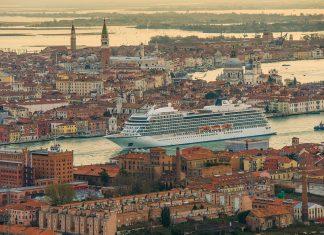A Viking ocean ship sailing through Venice.