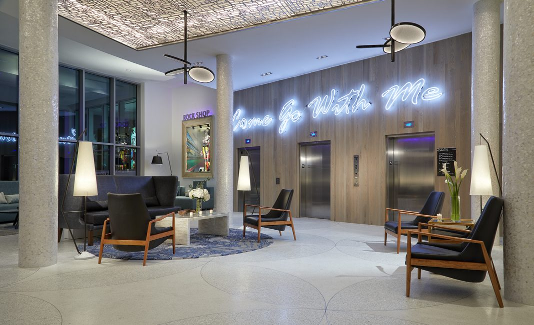 Lobby area at the Hard Rock Hotel Daytona Beach. (photo credit: Architectural Photography Inc)