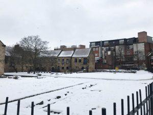 Views of snowy Newcastle during ExploreGB 2018.