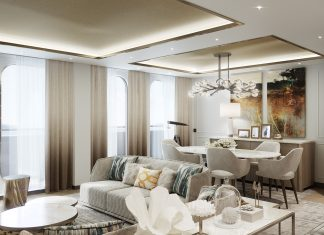 Renderings of the Crystal Penthouse Suite aboard Crystal Endeavor.