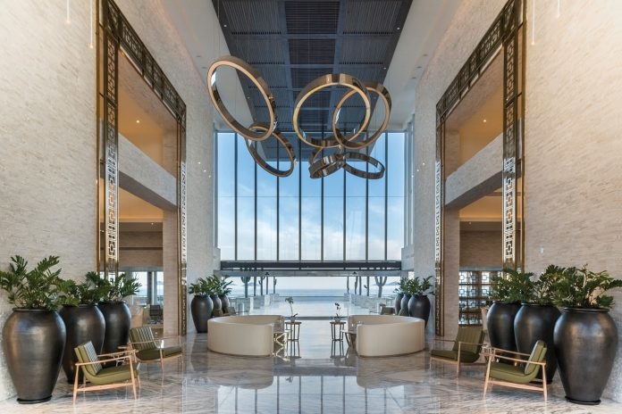 The resort's chic lobby gives way to beautiful ocean views.