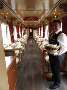 Dining car aboard the elegant Tren Crucero in Ecuador. (Carla Hunt)
